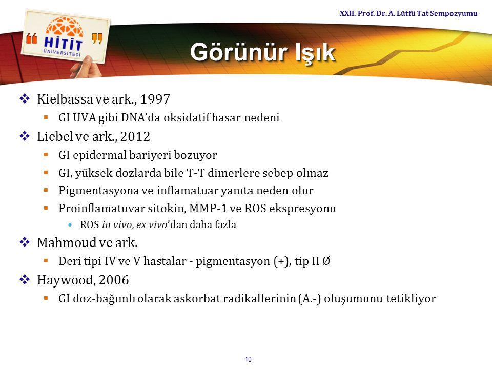 Görünür Işık  Kielbassa ve ark., 1997  GI UVA gibi DNA'da oksidatif hasar nedeni  Liebel ve ark., 2012  GI epidermal bariyeri bozuyor  GI, yüksek dozlarda bile T-T dimerlere sebep olmaz  Pigmentasyona ve inflamatuar yanıta neden olur  Proinflamatuvar sitokin, MMP-1 ve ROS ekspresyonu ROS in vivo, ex vivo'dan daha fazla  Mahmoud ve ark.
