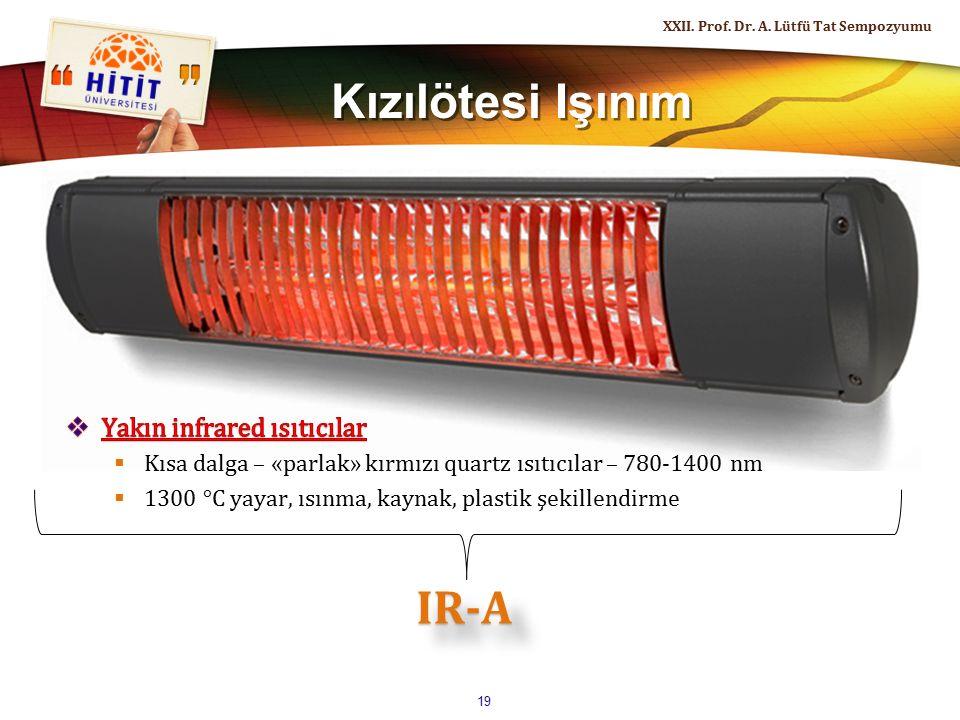 Kızılötesi Işınım XXII. Prof. Dr. A. Lütfü Tat Sempozyumu 19 IR-AIR-A