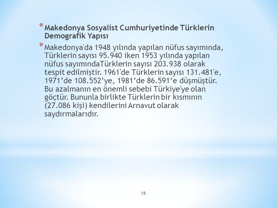 18 * Makedonya Sosyalist Cumhuriyetinde Türklerin Demografik Yapısı * Makedonya da 1948 yılında yapılan nüfus sayımında, Türklerin sayısı 95.940 iken 1953 yılında yapılan nüfus sayımındaTürklerin sayısı 203.938 olarak tespit edilmiştir.