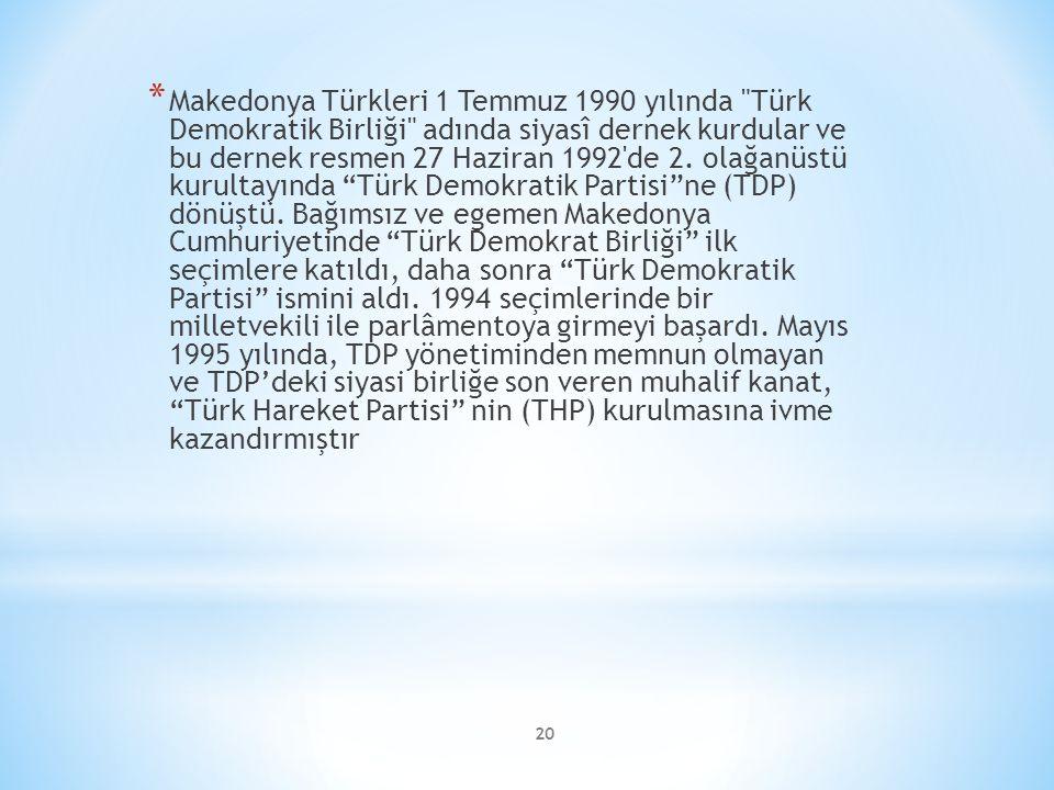 20 * Makedonya Türkleri 1 Temmuz 1990 yılında Türk Demokratik Birliği adında siyasî dernek kurdular ve bu dernek resmen 27 Haziran 1992 de 2.