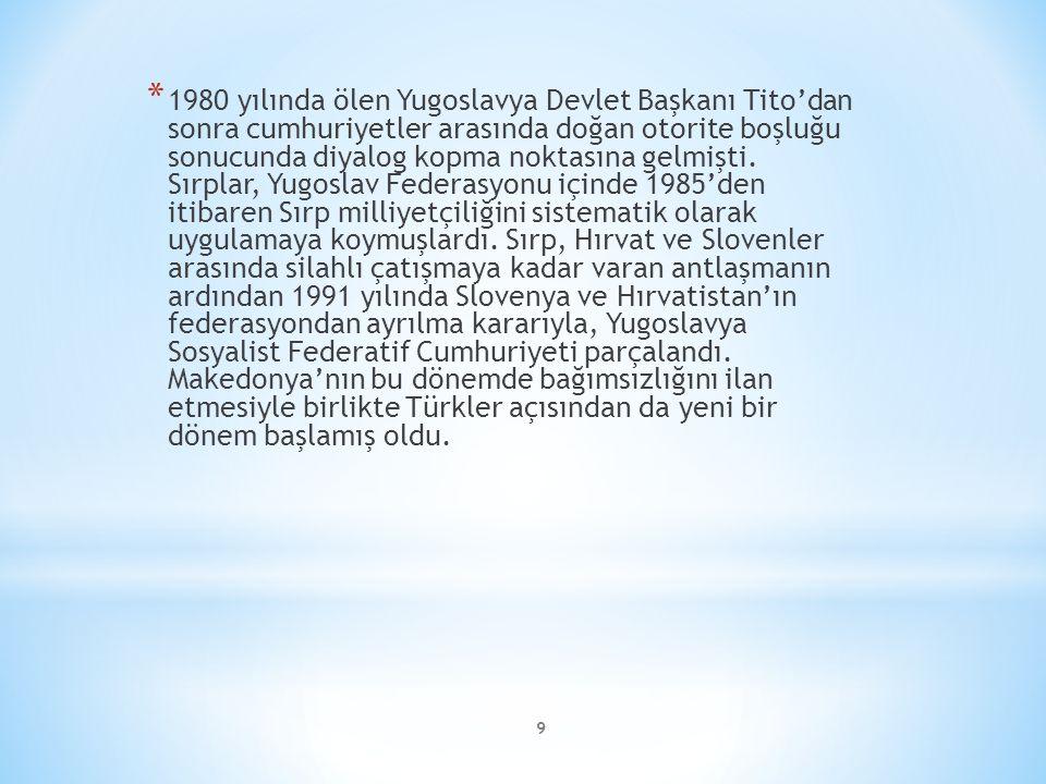 9 * 1980 yılında ölen Yugoslavya Devlet Başkanı Tito'dan sonra cumhuriyetler arasında doğan otorite boşluğu sonucunda diyalog kopma noktasına gelmişti.
