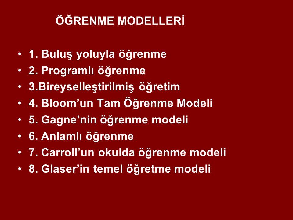 ÖĞRENME MODELLERİ 1. Buluş yoluyla öğrenme 2. Programlı öğrenme 3.Bireyselleştirilmiş öğretim 4. Bloom'un Tam Öğrenme Modeli 5. Gagne'nin öğrenme mode