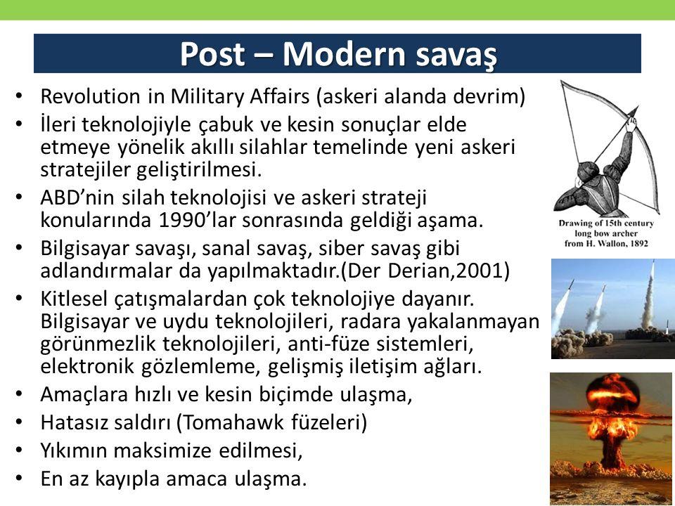 Post – Modern savaş Revolution in Military Affairs (askeri alanda devrim) İleri teknolojiyle çabuk ve kesin sonuçlar elde etmeye yönelik akıllı silahl