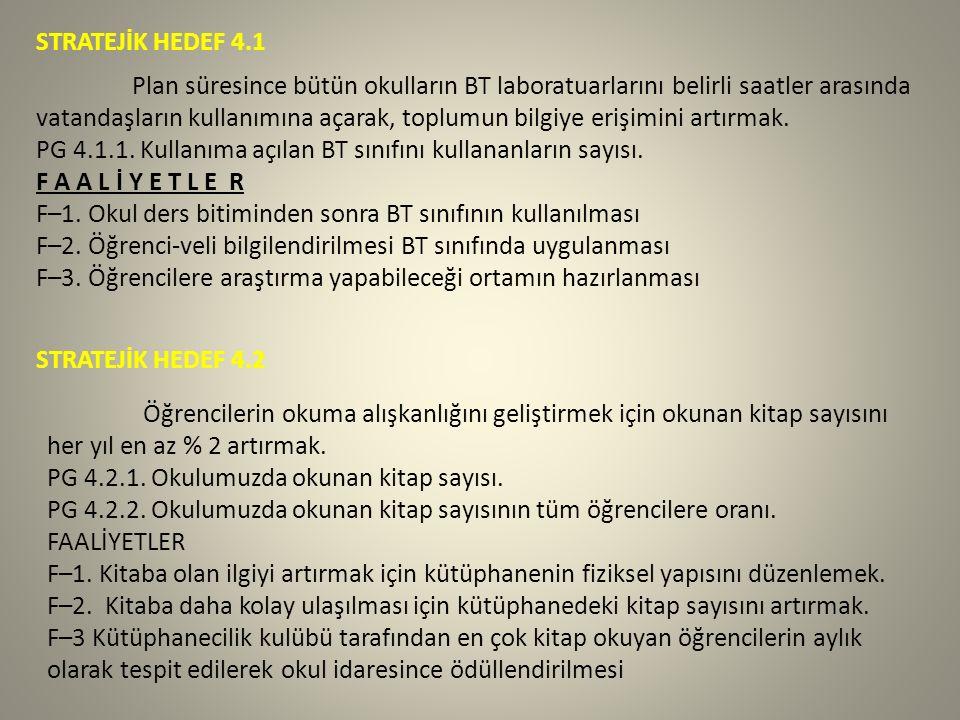 STRATEJİK HEDEF 4.1 Plan süresince bütün okulların BT laboratuarlarını belirli saatler arasında vatandaşların kullanımına açarak, toplumun bilgiye erişimini artırmak.