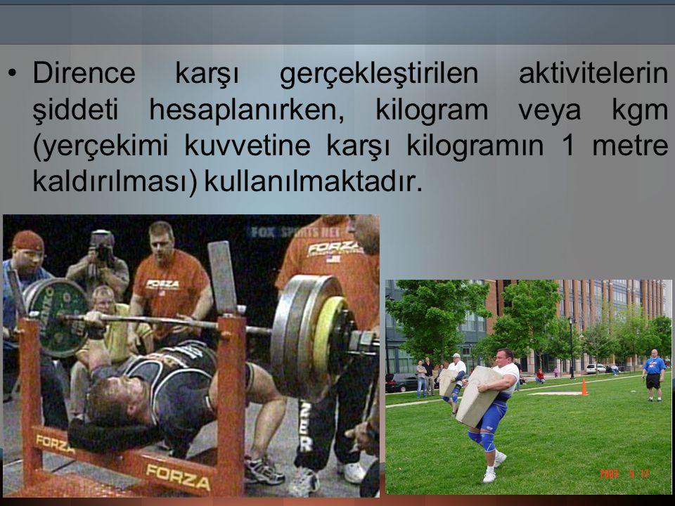 Dirence karşı gerçekleştirilen aktivitelerin şiddeti hesaplanırken, kilogram veya kgm (yerçekimi kuvvetine karşı kilogramın 1 metre kaldırılması) kull