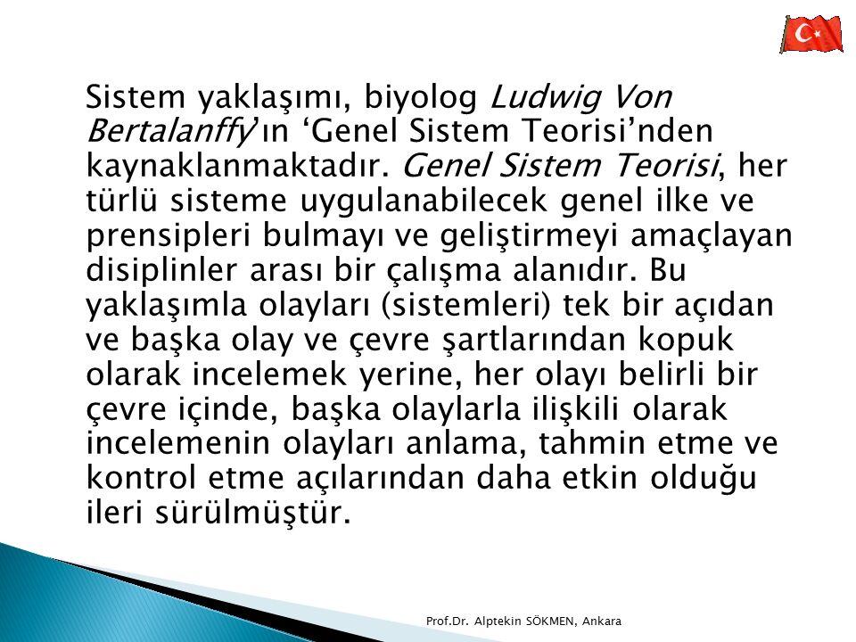 Sistem yaklaşımı, biyolog Ludwig Von Bertalanffy'ın 'Genel Sistem Teorisi'nden kaynaklanmaktadır. Genel Sistem Teorisi, her türlü sisteme uygulanabile