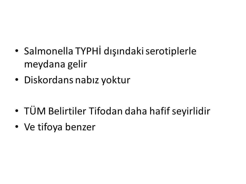 Salmonella TYPHİ dışındaki serotiplerle meydana gelir Diskordans nabız yoktur TÜM Belirtiler Tifodan daha hafif seyirlidir Ve tifoya benzer