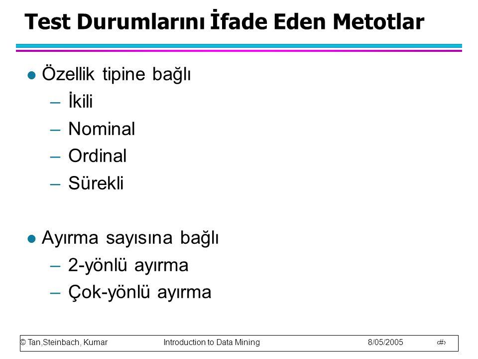 © Tan,Steinbach, Kumar Introduction to Data Mining 8/05/2005 18 Test Durumlarını İfade Eden Metotlar l Özellik tipine bağlı –İkili –Nominal –Ordinal –