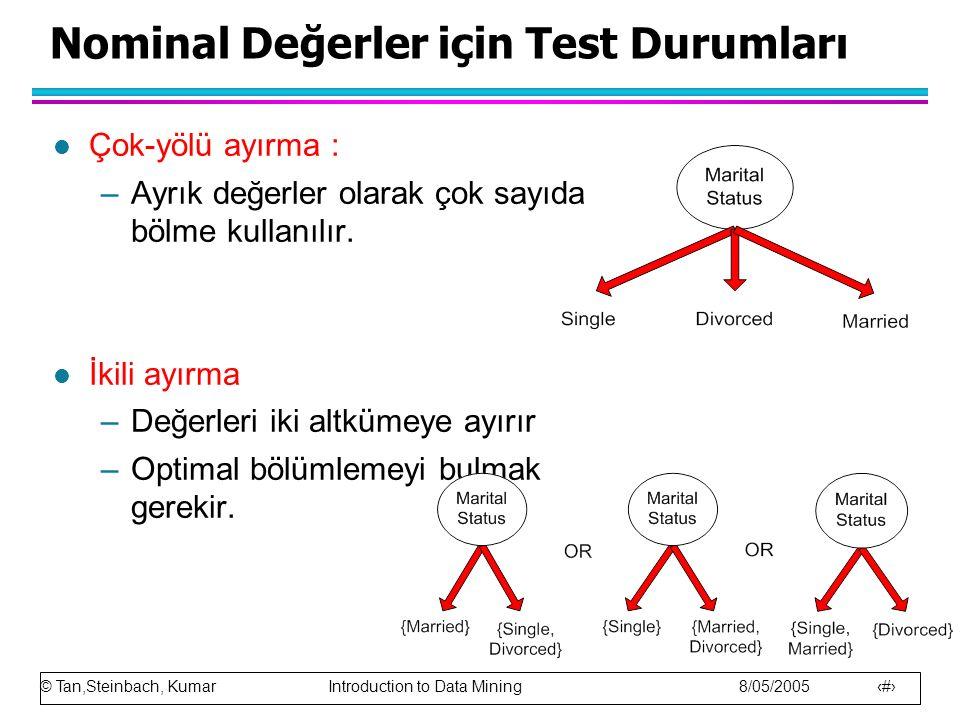 © Tan,Steinbach, Kumar Introduction to Data Mining 8/05/2005 19 Nominal Değerler için Test Durumları l Çok-yölü ayırma : –Ayrık değerler olarak çok sa