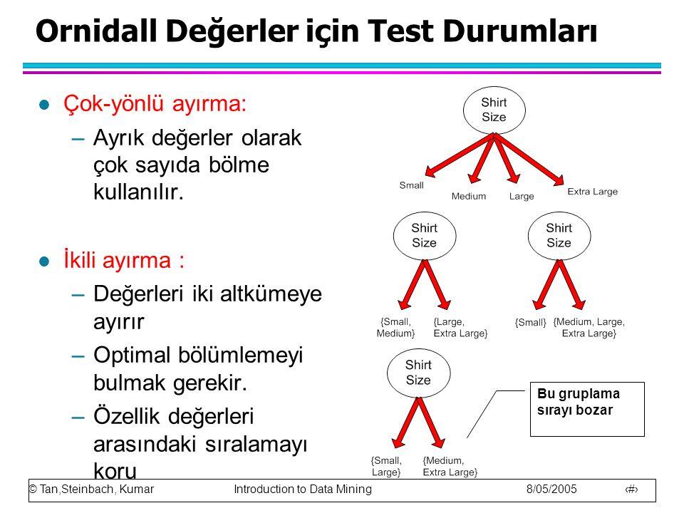 © Tan,Steinbach, Kumar Introduction to Data Mining 8/05/2005 20 Ornidall Değerler için Test Durumları l Çok-yönlü ayırma: –Ayrık değerler olarak çok s