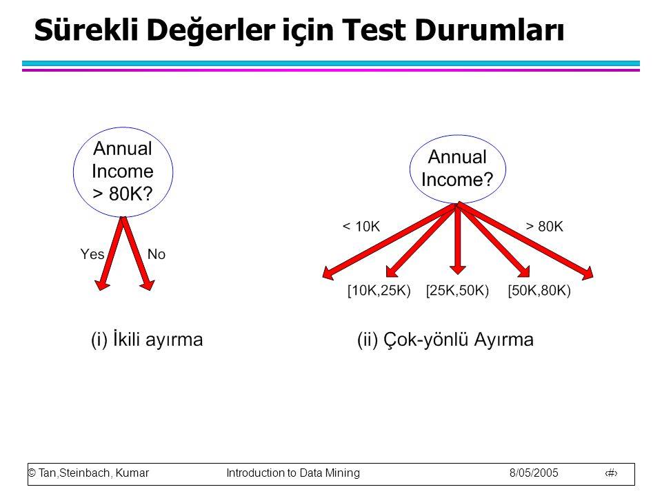 © Tan,Steinbach, Kumar Introduction to Data Mining 8/05/2005 21 Sürekli Değerler için Test Durumları