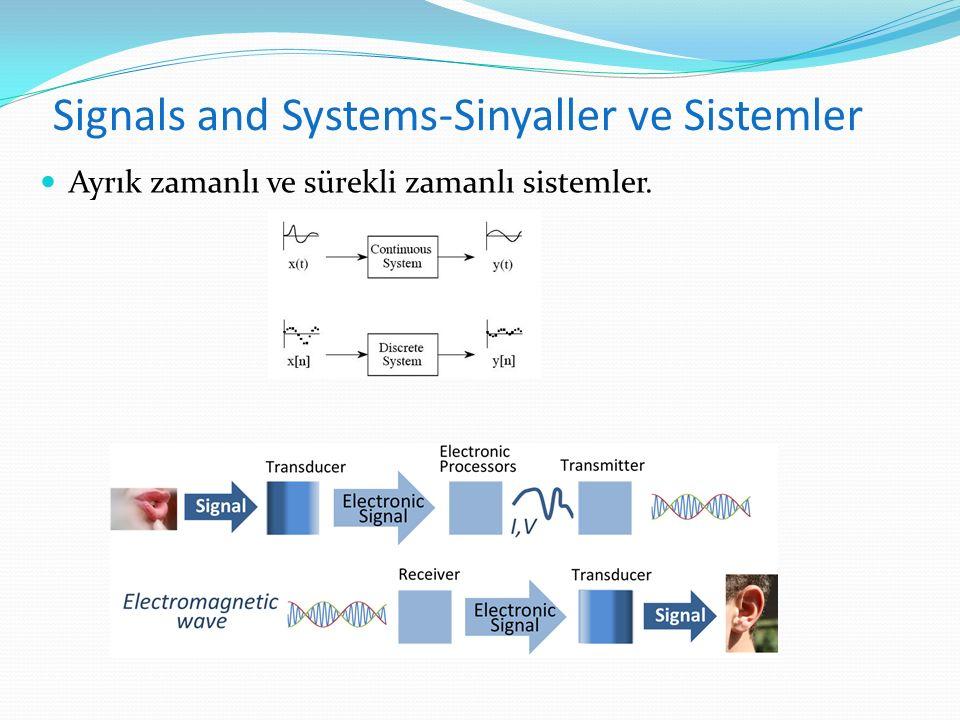 Signals and Systems-Sinyaller ve Sistemler Ayrık zamanlı ve sürekli zamanlı sistemler.