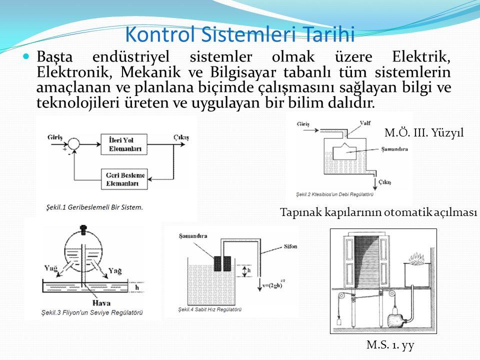 Kontrol Sistemleri Tarihi Başta endüstriyel sistemler olmak üzere Elektrik, Elektronik, Mekanik ve Bilgisayar tabanlı tüm sistemlerin amaçlanan ve pla
