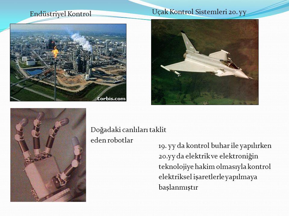 Doğadaki canlıları taklit eden robotlar Endüstriyel Kontrol Uçak Kontrol Sistemleri 20. yy 19. yy da kontrol buhar ile yapılırken 20.yy da elektrik ve