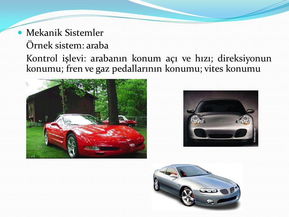 Mekanik Sistemler Örnek sistem: araba Kontrol işlevi: arabanın konum açı ve hızı; direksiyonun konumu; fren ve gaz pedallarının konumu; vites konumu