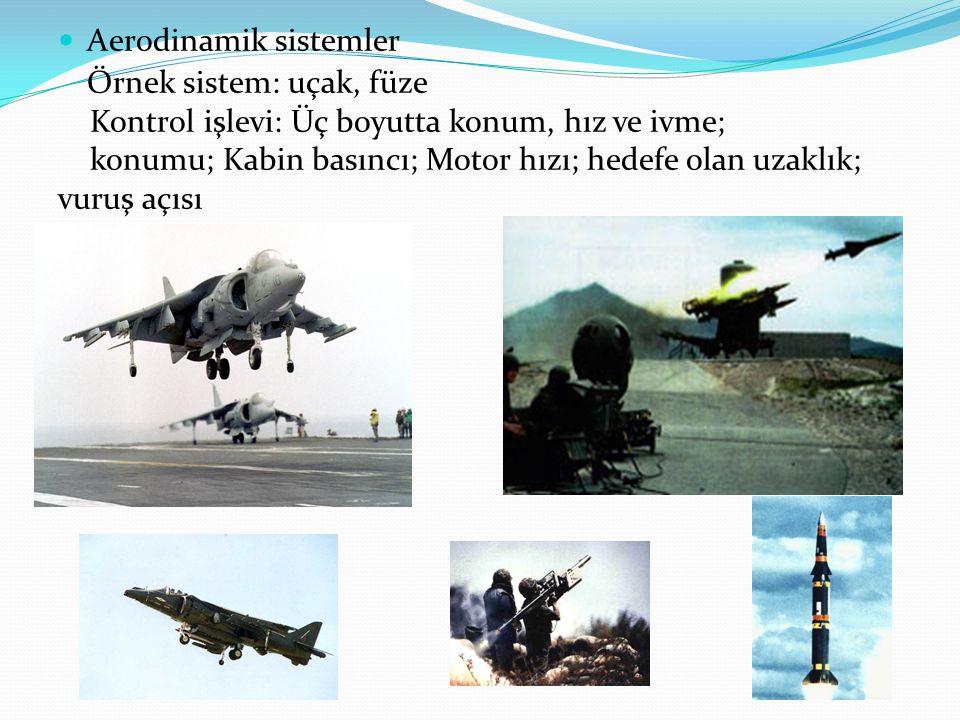 Aerodinamik sistemler Örnek sistem: uçak, füze Kontrol işlevi: Üç boyutta konum, hız ve ivme; konumu; Kabin basıncı; Motor hızı; hedefe olan uzaklık;