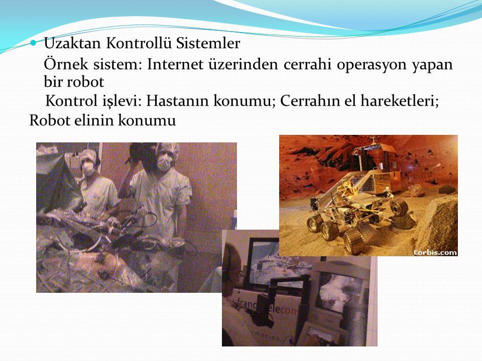 Uzaktan Kontrollü Sistemler Örnek sistem: Internet üzerinden cerrahi operasyon yapan bir robot Kontrol işlevi: Hastanın konumu; Cerrahın el hareketler