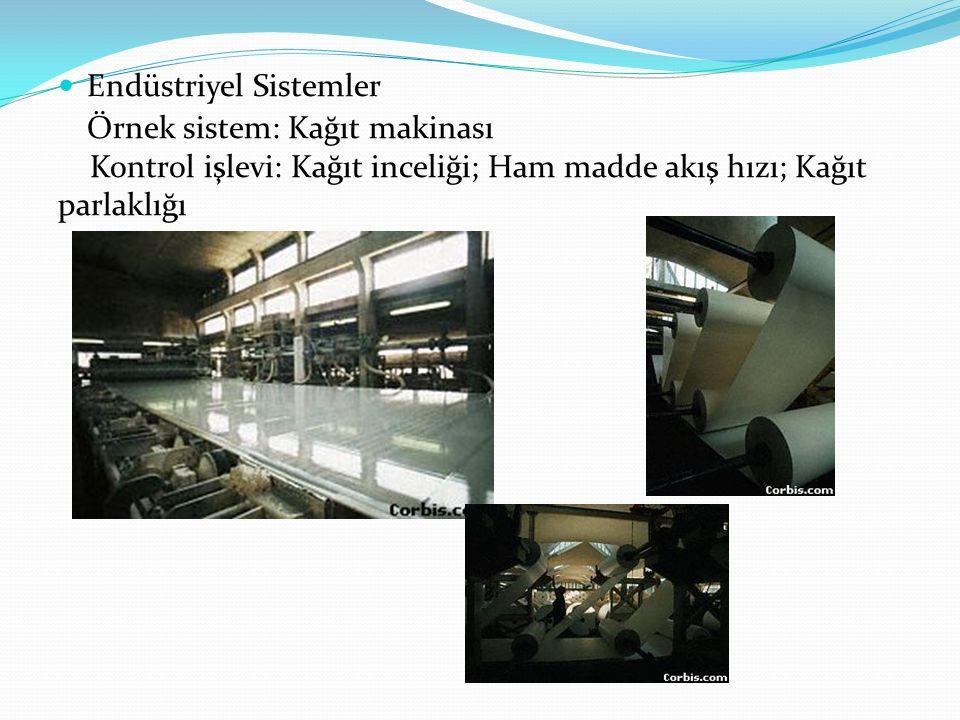Endüstriyel Sistemler Örnek sistem: Kağıt makinası Kontrol işlevi: Kağıt inceliği; Ham madde akış hızı; Kağıt parlaklığı