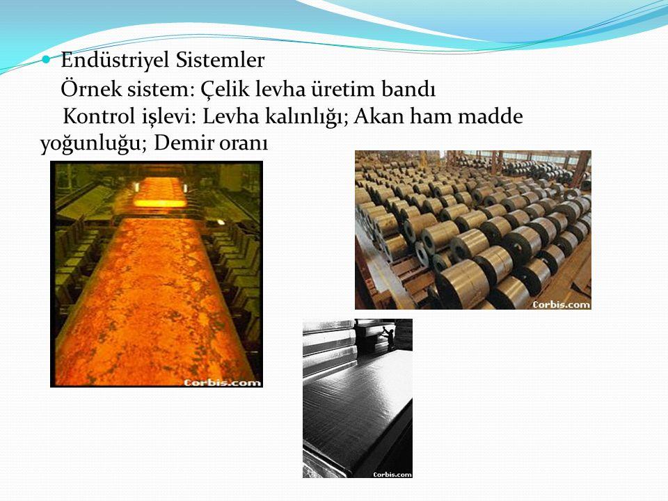 Endüstriyel Sistemler Örnek sistem: Çelik levha üretim bandı Kontrol işlevi: Levha kalınlığı; Akan ham madde yoğunluğu; Demir oranı