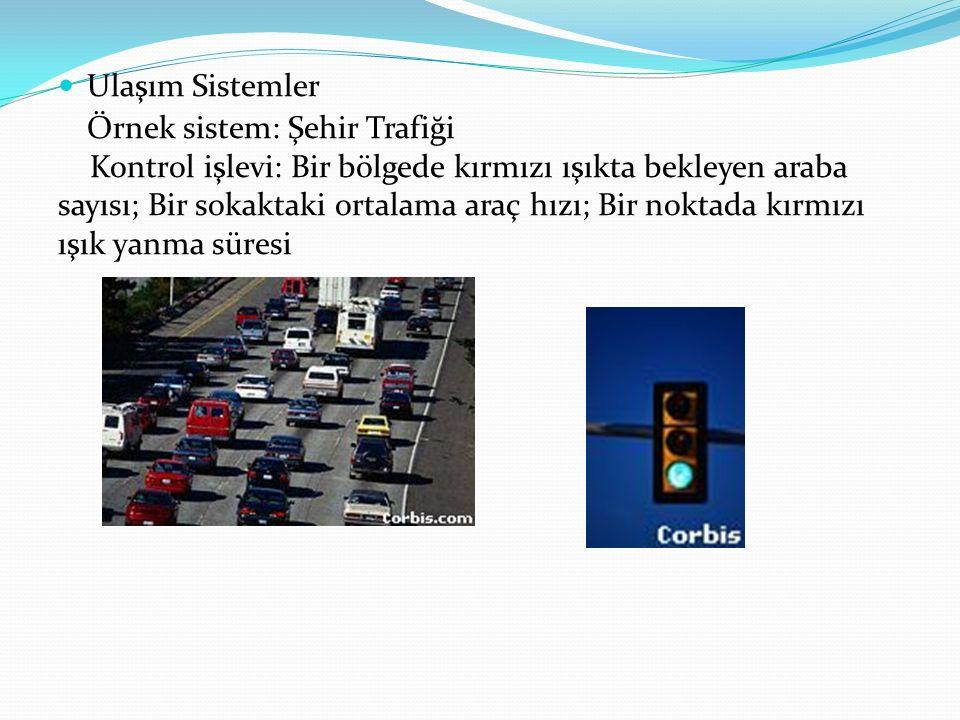 Ulaşım Sistemler Örnek sistem: Şehir Trafiği Kontrol işlevi: Bir bölgede kırmızı ışıkta bekleyen araba sayısı; Bir sokaktaki ortalama araç hızı; Bir n