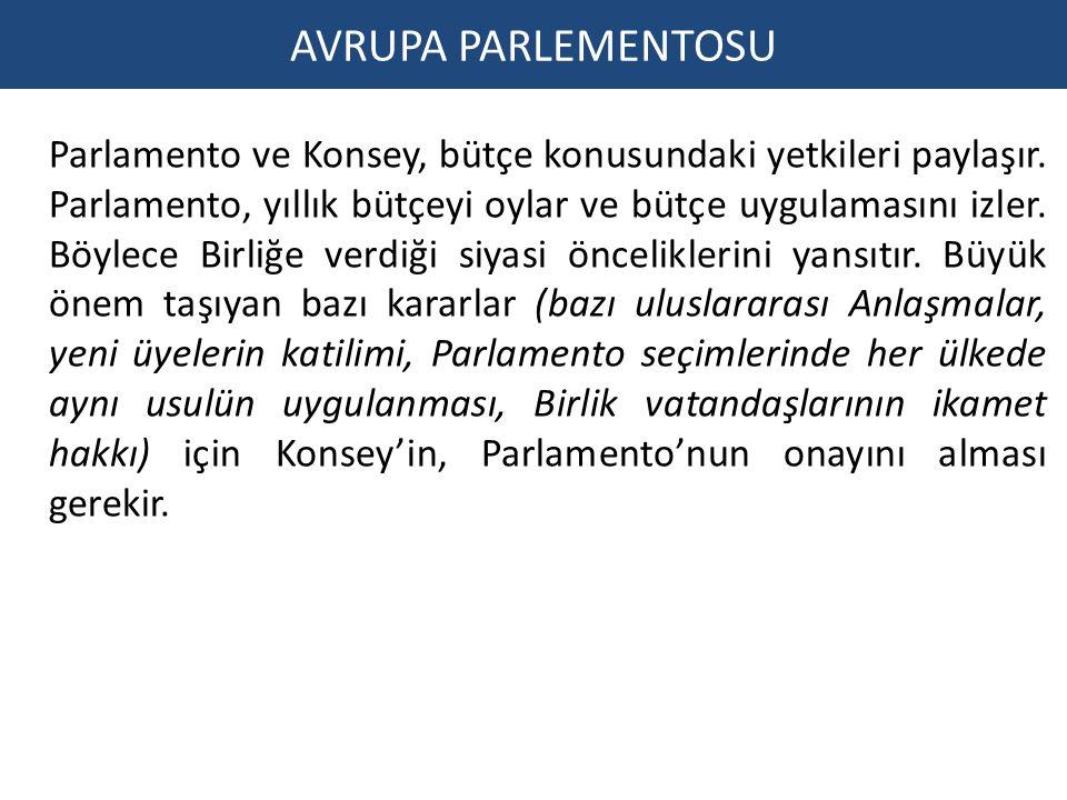 AVRUPA PARLEMENTOSU Parlamento ve Konsey, bütçe konusundaki yetkileri paylaşır.