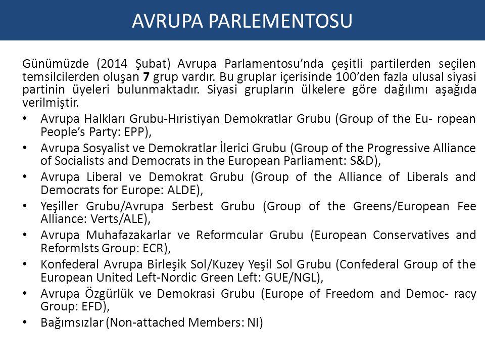 Günümüzde (2014 Şubat) Avrupa Parlamentosu'nda çeşitli partilerden seçilen temsilcilerden oluşan 7 grup vardır.