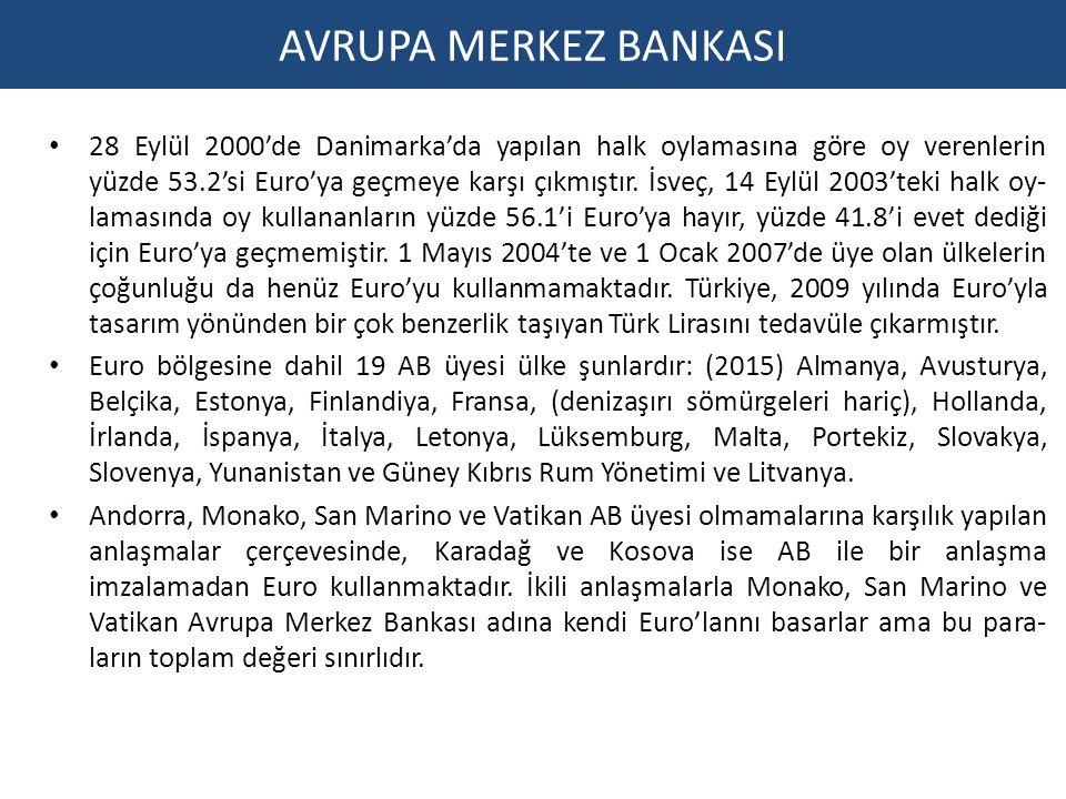 AVRUPA MERKEZ BANKASI 28 Eylül 2000'de Danimarka'da yapılan halk oylamasına göre oy verenlerin yüzde 53.2'si Euro'ya geçmeye karşı çıkmıştır.