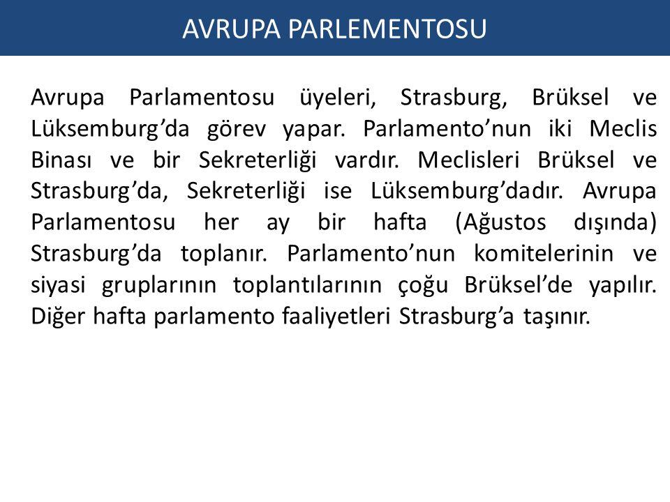 AVRUPA PARLEMENTOSU Avrupa Parlamentosu üyeleri, Strasburg, Brüksel ve Lüksemburg'da görev yapar.