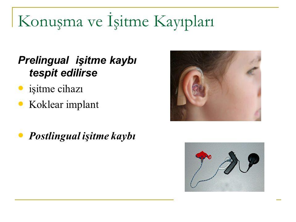 Konuşma ve İşitme Kayıpları Prelingual işitme kaybı tespit edilirse işitme cihazı Koklear implant Postlingual işitme kaybı
