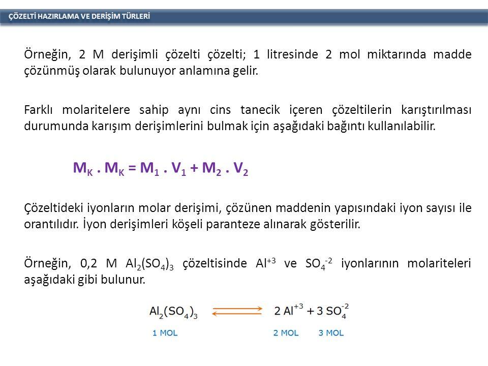ÇÖZELTİ HAZIRLAMA VE DERİŞİM TÜRLERİ Örneğin, 2 M derişimli çözelti çözelti; 1 litresinde 2 mol miktarında madde çözünmüş olarak bulunuyor anlamına gelir.