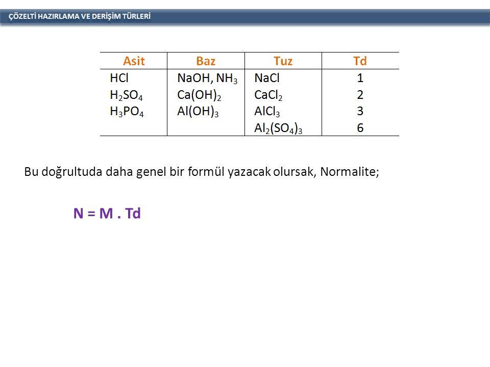 ÇÖZELTİ HAZIRLAMA VE DERİŞİM TÜRLERİ Bu doğrultuda daha genel bir formül yazacak olursak, Normalite; N = M.