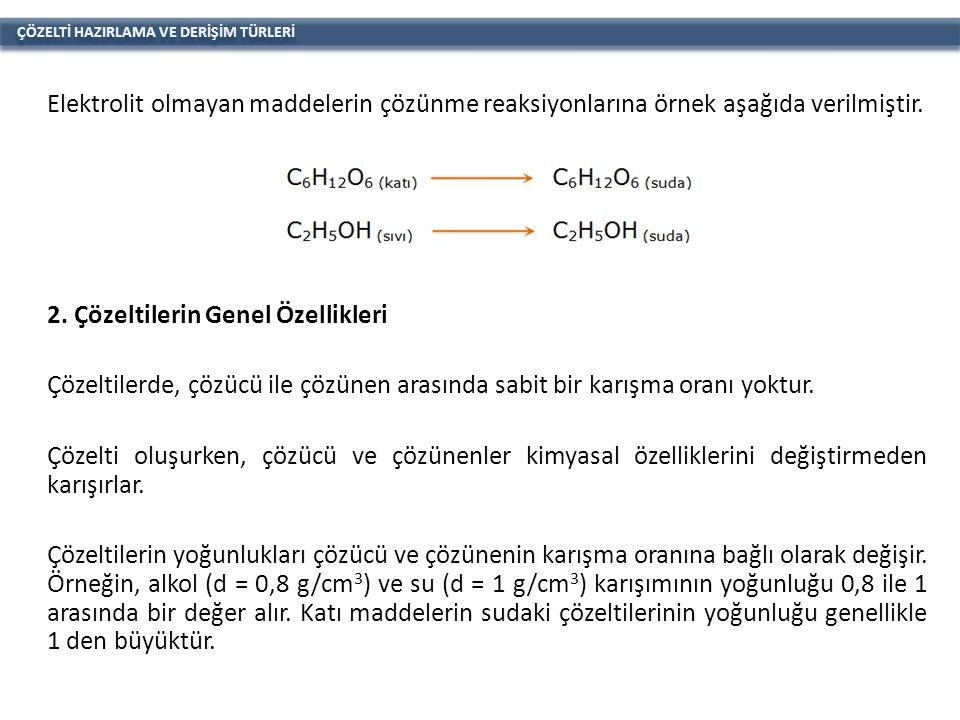ÇÖZELTİ HAZIRLAMA VE DERİŞİM TÜRLERİ Elektrolit olmayan maddelerin çözünme reaksiyonlarına örnek aşağıda verilmiştir.