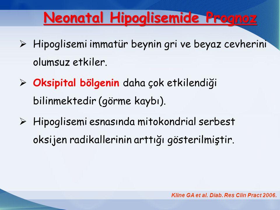 Neonatal Hipoglisemide Prognoz Neonatal Hipoglisemide Prognoz  Hipoglisemi immatür beynin gri ve beyaz cevherini olumsuz etkiler.