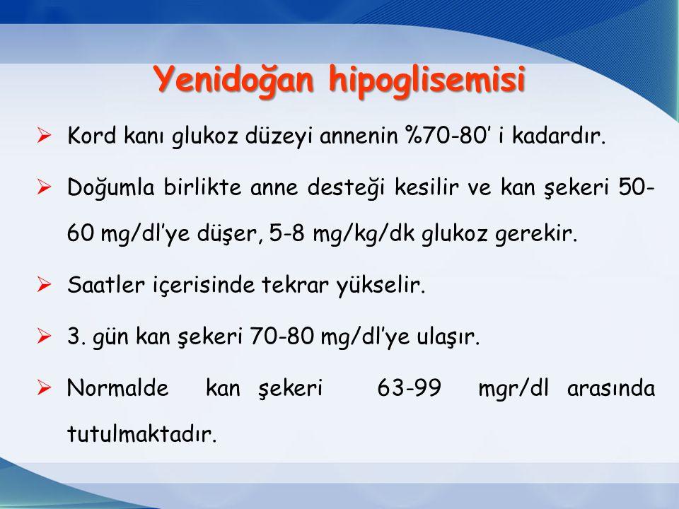 Yenidoğan hipoglisemisi  Kord kanı glukoz düzeyi annenin %70-80' i kadardır.