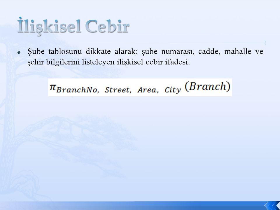  Şube tablosunu dikkate alarak; şube numarası, cadde, mahalle ve şehir bilgilerini listeleyen ilişkisel cebir ifadesi: