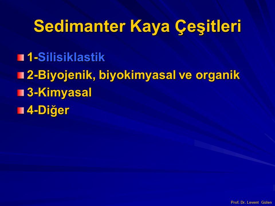 Sedimanter Kaya Çeşitleri 1-Silisiklastik 2-Biyojenik, biyokimyasal ve organik 3-Kimyasal4-Diğer Prof. Dr. Levent Gülen