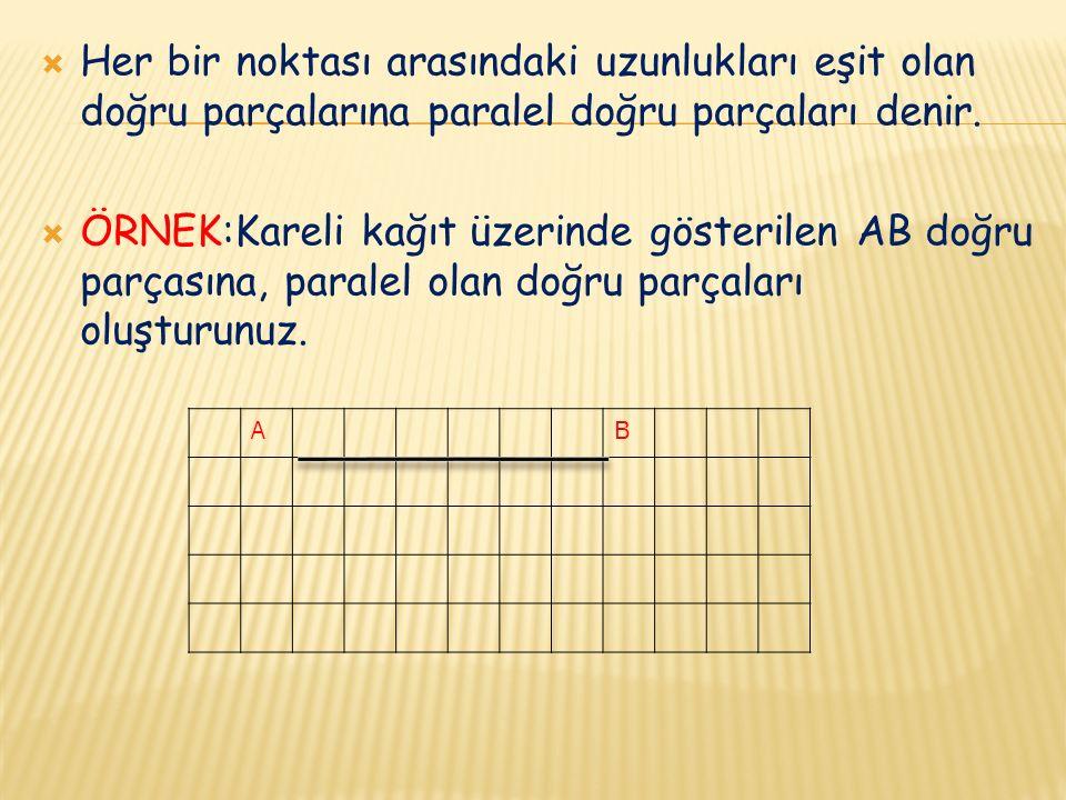  Her bir noktası arasındaki uzunlukları eşit olan doğru parçalarına paralel doğru parçaları denir.  ÖRNEK:Kareli kağıt üzerinde gösterilen AB doğru