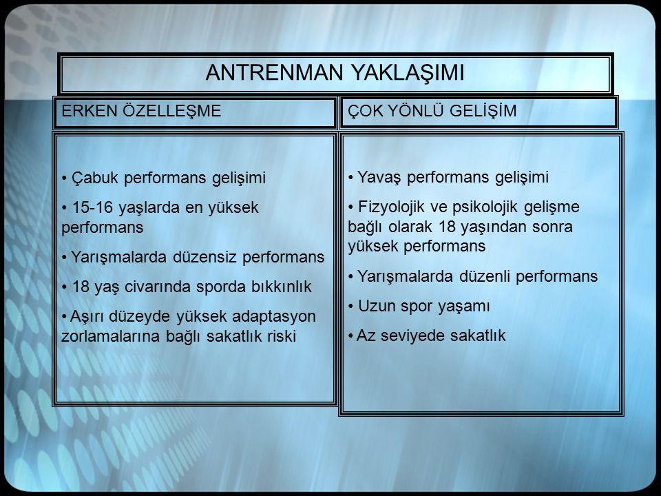 ANTRENMAN YAKLAŞIMI ERKEN ÖZELLEŞME ÇOK YÖNLÜ GELİŞİM Çabuk performans gelişimi 15-16 yaşlarda en yüksek performans Yarışmalarda düzensiz performans 1