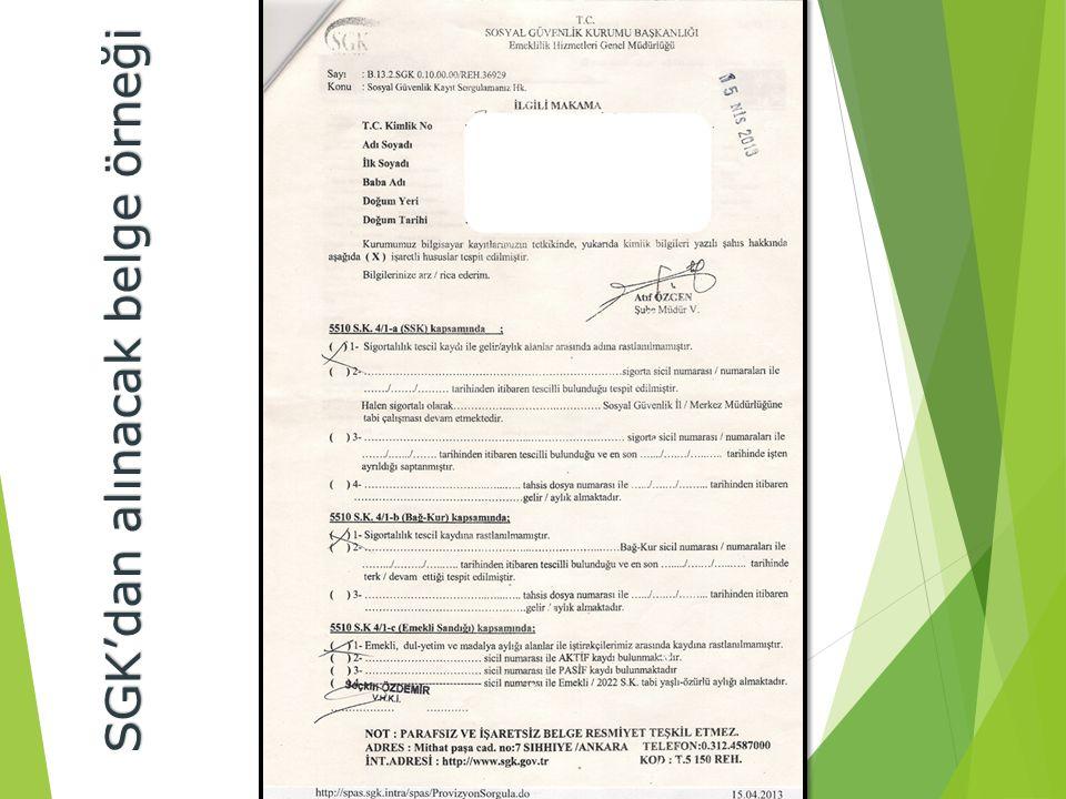SGK'dan alınacak belge örneği