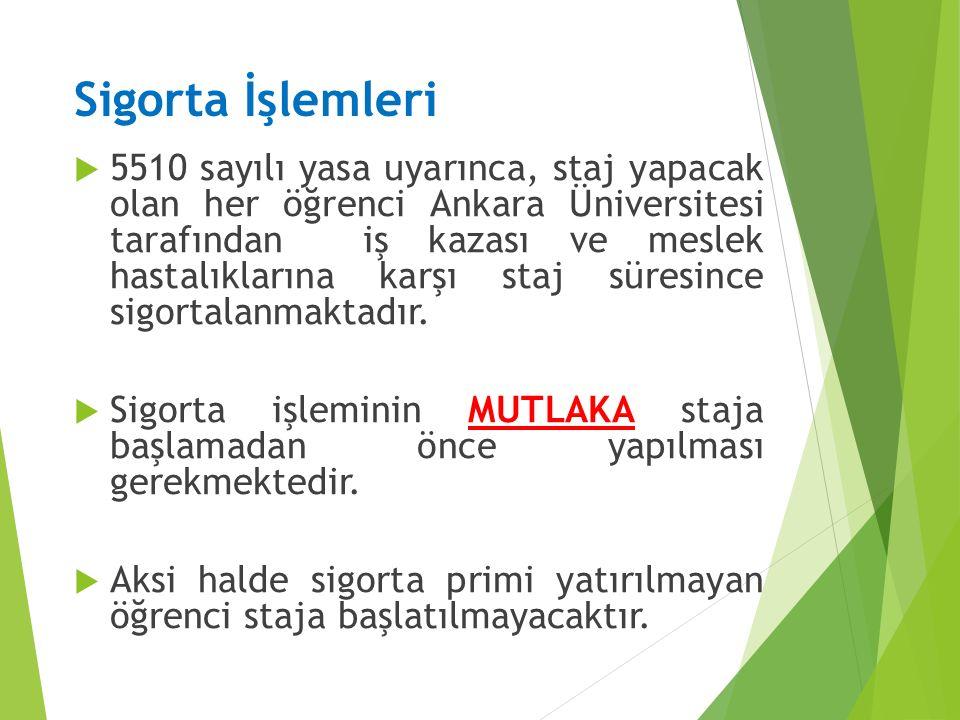 Sigorta İşlemleri  5510 sayılı yasa uyarınca, staj yapacak olan her öğrenci Ankara Üniversitesi tarafından iş kazası ve meslek hastalıklarına karşı s