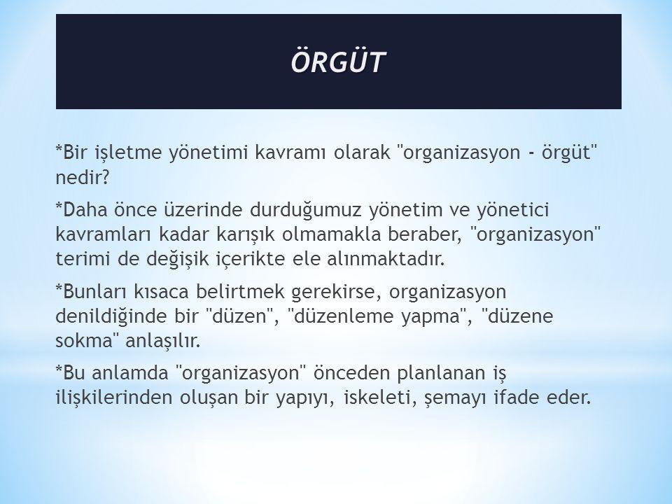 *Bir işletme yönetimi kavramı olarak organizasyon - örgüt nedir.