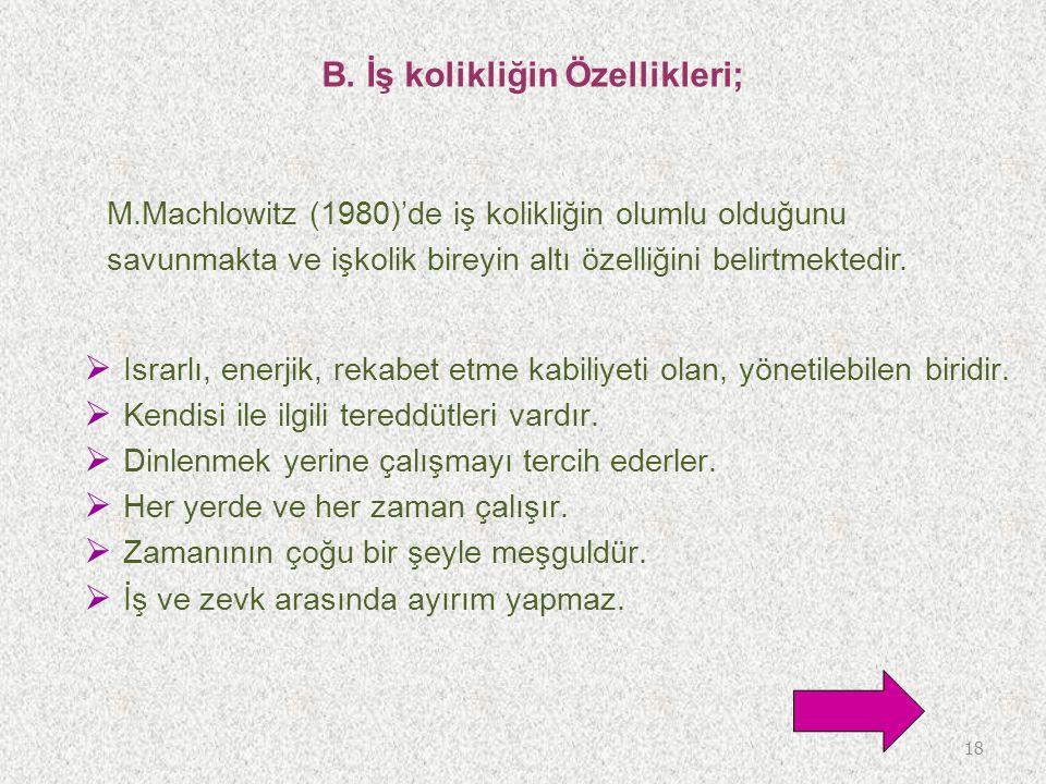 B. İş kolikliğin Özellikleri; M.Machlowitz (1980)'de iş kolikliğin olumlu olduğunu savunmakta ve işkolik bireyin altı özelliğini belirtmektedir. 18 