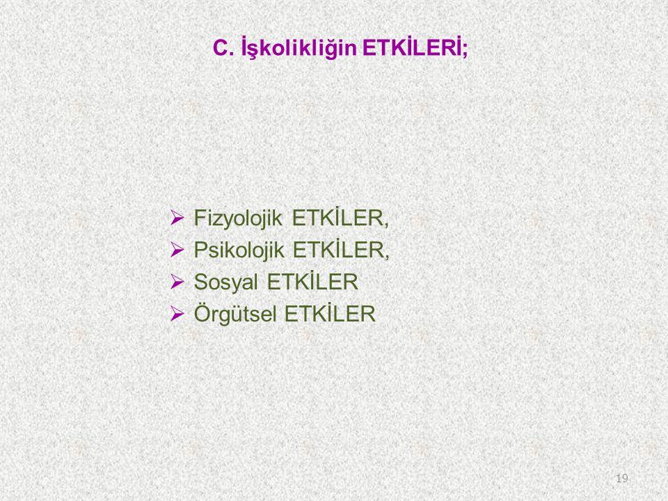 C. İşkolikliğin ETKİLERİ;  Fizyolojik ETKİLER,  Psikolojik ETKİLER,  Sosyal ETKİLER  Örgütsel ETKİLER 19