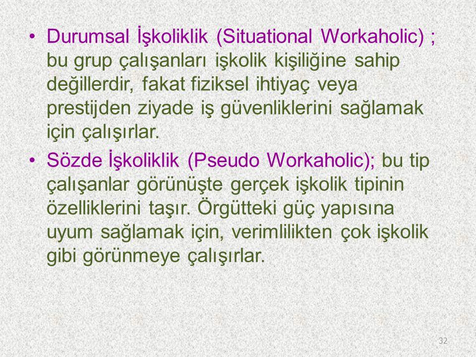 Durumsal İşkoliklik (Situational Workaholic) ; bu grup çalışanları işkolik kişiliğine sahip değillerdir, fakat fiziksel ihtiyaç veya prestijden ziyade iş güvenliklerini sağlamak için çalışırlar.