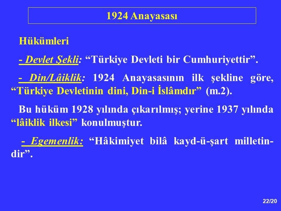 """22/20 Hükümleri - Devlet Şekli: """"Türkiye Devleti bir Cumhuriyettir"""". - Din/Lâiklik: 1924 Anayasasının ilk şekline göre, """"Türkiye Devletinin dini, Din-"""
