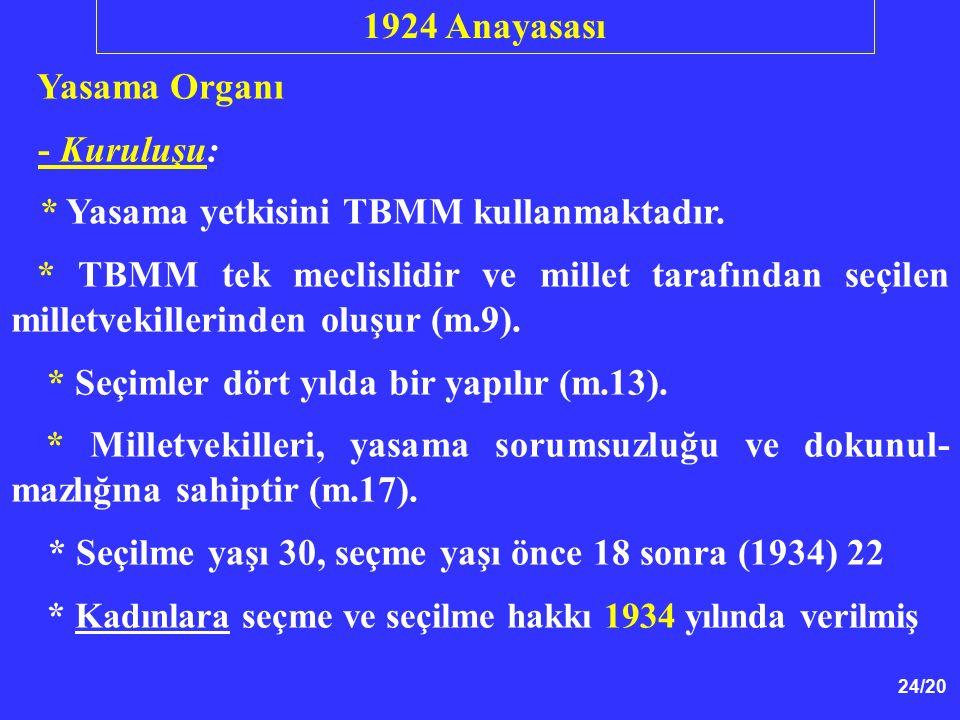 24/20 Yasama Organı - Kuruluşu: * Yasama yetkisini TBMM kullanmaktadır. * TBMM tek meclislidir ve millet tarafından seçilen milletvekillerinden oluşur