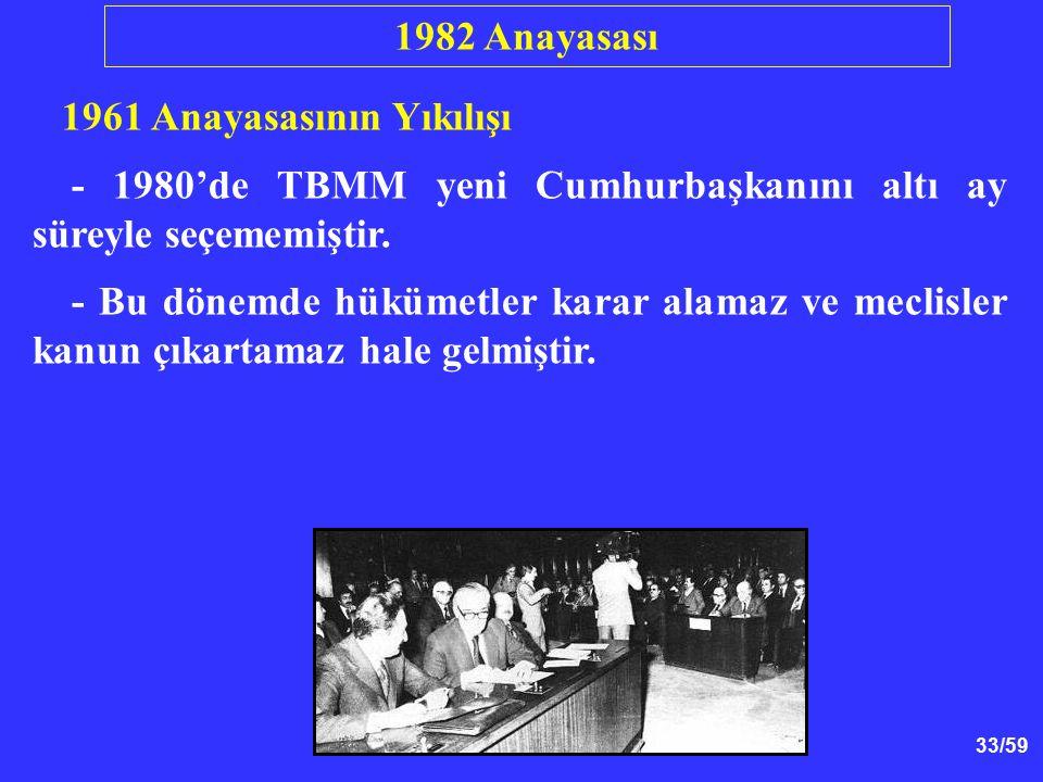33/59 1961 Anayasasının Yıkılışı - 1980'de TBMM yeni Cumhurbaşkanını altı ay süreyle seçememiştir. - Bu dönemde hükümetler karar alamaz ve meclisler k