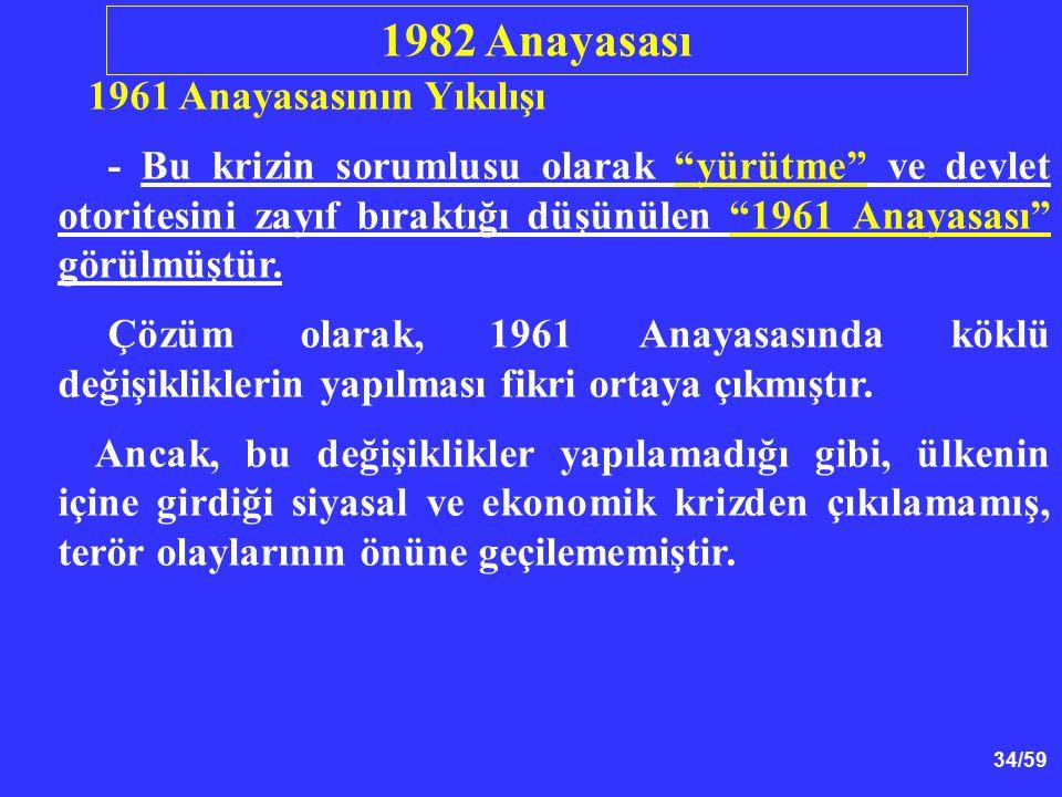"""34/59 1961 Anayasasının Yıkılışı - Bu krizin sorumlusu olarak """"yürütme"""" ve devlet otoritesini zayıf bıraktığı düşünülen """"1961 Anayasası"""" görülmüştür."""