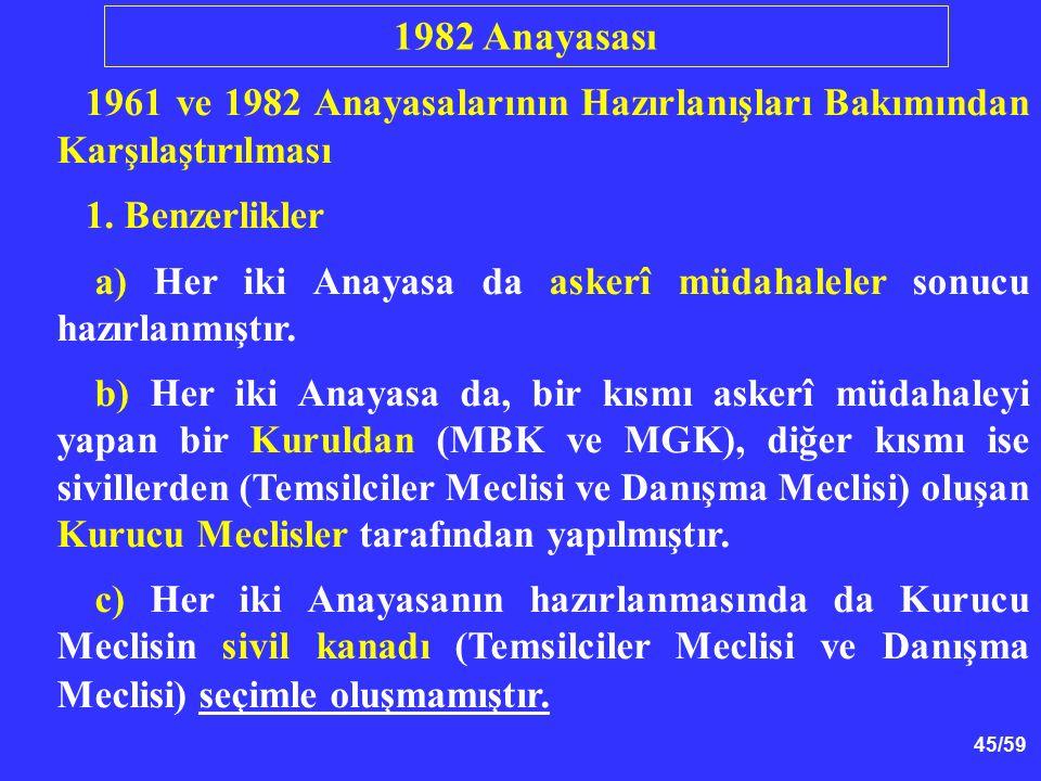 45/59 1961 ve 1982 Anayasalarının Hazırlanışları Bakımından Karşılaştırılması 1. Benzerlikler a) Her iki Anayasa da askerî müdahaleler sonucu hazırlan