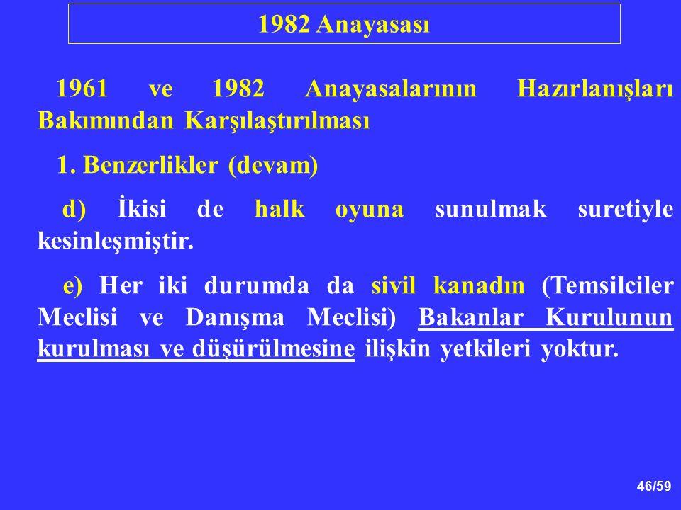 46/59 1961 ve 1982 Anayasalarının Hazırlanışları Bakımından Karşılaştırılması 1. Benzerlikler (devam) d) İkisi de halk oyuna sunulmak suretiyle kesinl